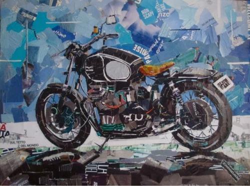 Arte moto, collage riviste moto, quadri moto,