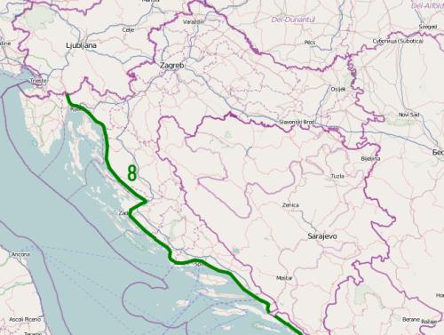 Strada Statale n°8 maps, maps, D8, Jadranska Magistrala, strada Maestra Adriatica, Croazia, Strade mitiche, Strade belle in moto, strade pericolose moto,