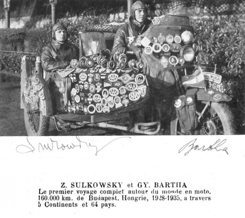 Sulkowsky Bartha , Zoltan Gyula, Giro del mondo moto,, viaggi mto, libri moto, giro del mondo, grande viaggiatori ,