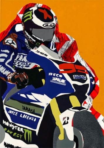 Arte sulle moto, arte moto, illustrazioni moto, disegni moto, Lisa Statham, arte sulla moto gp,