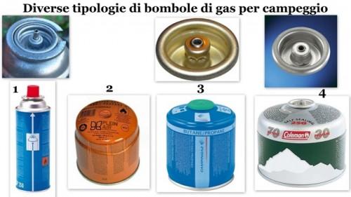 bombole gas campeggio, tipologie bombole gas campeggio, tipologie cartucce gas campeggio, cartucce gas fornelli, bombole gas fornelli,