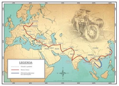 Halina Korolec-Bujakowska, grandi viaggiatori , pionieri viaggi moto, viaggi moto, Halina Bujakowska,Halina Korolec-Bujakowsk map,